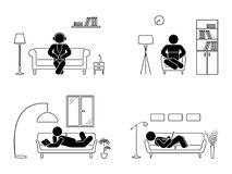 Stick figure resting at home position set.. Stick figure resting at home position set. Sitting, lying, reading book, listening to music, using laptop vector Royalty Free Stock Photos