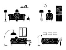 Stick figure resting at home position set. Sitting, lying, reading book, listening to music, using laptop vector icon. Stick figure resting at home position set Royalty Free Stock Photos
