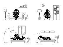 Stick figure resting at home position set. Sitting, lying, reading book, listening to music, using laptop vector icon. Stick figure resting at home position set Royalty Free Stock Photography