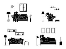 Stick figure resting at home position set. Sitting, lying, watching tv, sleeping, drinking icon relaxing posture on sofa. Stick figure resting at home position Royalty Free Stock Photo