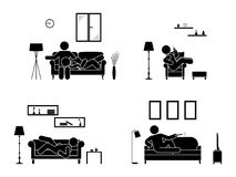 Stick figure resting at home position set. Sitting, lying, watching tv, sleeping, drinking icon relaxing posture on sofa. Stick figure resting at home position Royalty Free Stock Image