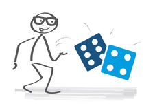 Stick figure rolling the dice. Take a chance - businessman throwing dice Royalty Free Stock Image