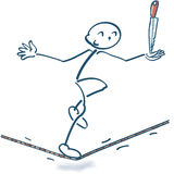 Stick figure on the rope with a knife. And balance stock photography