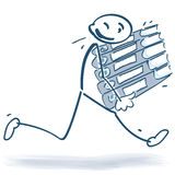 Stick figure running with file folders Royalty Free Stock Photo
