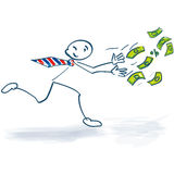Stick figure running after the money. Stick figure running after the big money Royalty Free Stock Photography