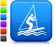 Stick figure sailing icon Royalty Free Stock Photo