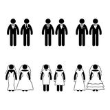 Stick figure same-sex marriage set. Vector illustration of happy newlyweds on white Stock Images
