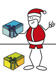 Stick figure Santa Claus gift. Stick figure of Santa Claus with gifts. Xmas concept Royalty Free Stock Photography