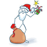 Stick Figure Santa Claus with gifts bag Stock Photos