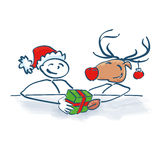 Stick Figure Santa Claus with reindeer. At Christmas party Stock Photography