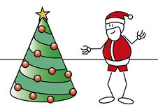 Stick figure Santa Claus tree. Stick figure of a boy with a Santa Claus costume and a christmas tree. Xmas concept Stock Photo