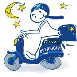 Stick figure with scooter as a  overnight courier Stock Photography