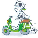Stick figure with scooter as a soccer fan royalty free illustration