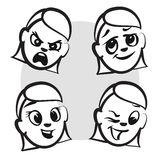 Stick figure series emotions - Four faces. Hand drawn Vector Artwork Stock Photography