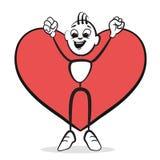 Stick figure series emotions - Heart won Stock Image