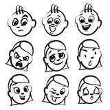 Stick figure series emotions - Nine faces Royalty Free Stock Photo