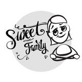Stick figure series emotions - Sweet family. Hand drawn Vector Artwork Royalty Free Stock Images