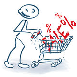 Stick figure with shopping cart and sale Stock Photography