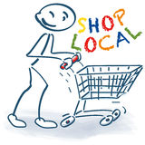 Stick figure with shopping cart and shop local Stock Photos
