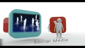 Stick figure showing social media symbols Royalty Free Stock Images