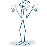 Stick figure with a shrug and happiness Royalty Free Stock Photo