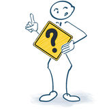 Stick figure with a sign with a question mark in front Royalty Free Stock Photos