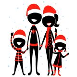 Stick Figure Silhouette Family Icon wearing Christmas Costume. Vector Illustration of Stick Figure Silhouette Family Icon wearing Christmas Costume Royalty Free Stock Images