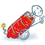 Stick figure sitting in an old cannon. Stick figure sitting in an old red cannon stock images