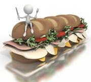 Stick figure sitting on sub sandwich Royalty Free Stock Image