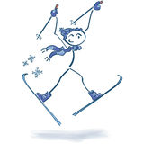 Stick figure on skiers. In the snow Royalty Free Stock Images