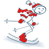 Stick figure and skiing. And holidays in the mountains Stock Photos