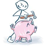 Stick figure slaughters a little piggy bank with a hammer royalty free illustration
