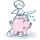 Stick figure slaughters a pink piggy bank with a knife royalty free illustration