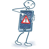 Stick figure with smartphone and error message Stock Image