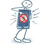 Stick figure with smartphone and phone damage. Angry stick figure with smartphone and phone damage Royalty Free Stock Images