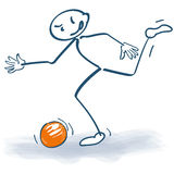 Stick figure with a soccer ball Stock Photos