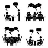 Stick figure speech bubble meeting set. Group of people talking in conference room.