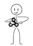 Stick figure with spinner. Drawing on a white background Stock Photo