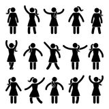 Stick figure standing position. Posing woman person icon posture symbol sign pictogram on white. stock illustration