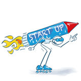 Stick figure with starting rocket and start up with roller skates. Stick figure with a starting rocket and start up with roller skates royalty free illustration