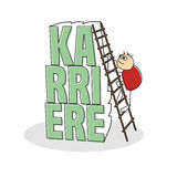 Stick figure with step ladder against text. Red shirted stick figure climbing step ladder placed against german career text colored green with shadow Stock Photo