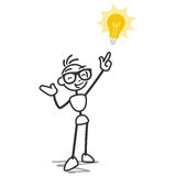 Stick figure stick man light bulb idea Stock Image