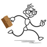 Stick figure stick man running busy briefcase business. Vector stick figure illustration: Busy stick man running with briefcase Stock Photos
