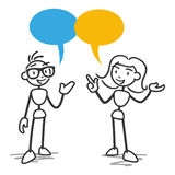 Stick figure stick man woman talking. Vector stick figure illustration: Stick man and woman having a conversation, with speech bubbles Stock Photo