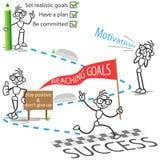 Stick figure stickman reaching goals success motivation. Conceptual vector illustration of a stick man on his path to reaching goals successfully Stock Photo