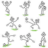 Stick figure stickman soccer football player Royalty Free Stock Photo