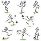 Stick figure stickman soccer football player vector illustration