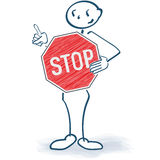 Stick figure with a stop sign in front of the body. Stick figure with a red stop sign in front of the body Royalty Free Stock Image