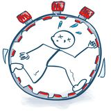 Stick figure in the stopwatch and time pressure Royalty Free Stock Photos
