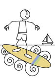 Stick figure surfing Royalty Free Stock Photos